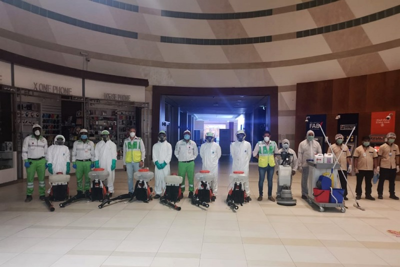 Tadweer announces participation in disinfection of shopping centers in Abu Dhabi in collaboration with Department of Municipalities and Transport