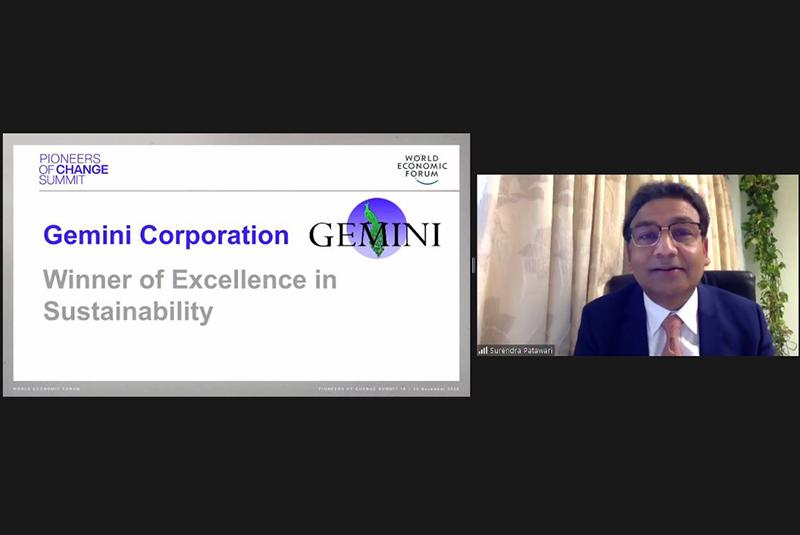 Gemini Corporation wins World Economic Forum's Excellence in Sustainability Award